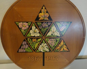 Vintage 1967 Canadian Wood Wall Plaque