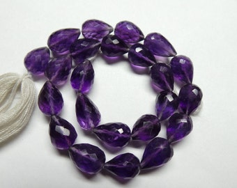 """Amazing Natural Amethyst 10"""" Strand Super Top High Quality 10-11 MM Size Faceted Straight Line Drop"""