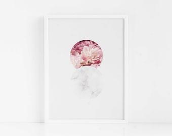 Marble Circles|FRAMED Wall Art|Gift for Her|Flower|Abstract Art|Flower|Geometric|Glass Marble|Gift for Mom|Blush