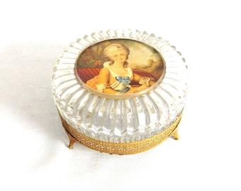 Crystal Powder Box w Footed Gold Stand - Trinket Jar - Dresser Jar - Vanity Jar - Vintage Dressing Table Jar - Renaissance Woman - Gift