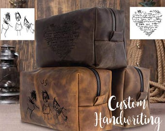 Huge SALE 50% Dopp Kit Bag Groomsmen Gift Handwriting Leather Toiletry Bag with Monogram Mens Toiletry Bag Leather Custom Dopp Kit