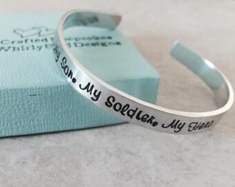Sale!  My son my soldier my hero personalized cuff bracelet army mom navy mom marine corps mom sister girlfriend deployment military