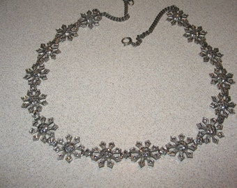 Sterling Silver Marcasite Necklace Vintage Costume Jewelry #5717  1 ounce