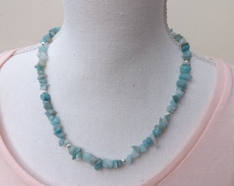 Amazonite necklace, blue chips necklace, blue  necklace, green necklace, colourful jewellery, boho necklace, summer jewellery,