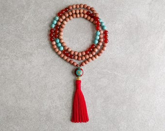 Rosewood Mala Beads with Carnelian and Turquoise Howlite - Meditation Necklace - Tassel Mala - Item # 726