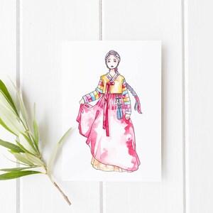 Korean new year card etsy korean hanbok cards greeting cards korea illustration watercolor handmade card korean new m4hsunfo