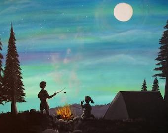 kids roasting marshmallows art print 8 x 10