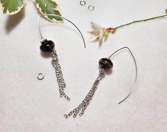 Exquisite Transparent Bellow (Black and Yellow) bubble infused Earrings, Unique gift