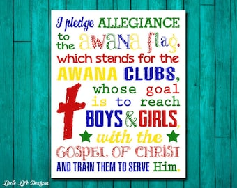 Pledge of Allegiance to the AWANA Flag. Youth Group Decor. Church Decor. Christian Decor. Sunday School Wall Art. AWANA Club Flag Pledge.