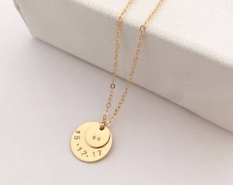 Personalised Gold Double Disc necklace - delicate gold necklace