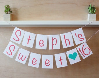 Sweet Sixteen Banner - Personalized with Name - Custom Colors - Sweet 16 Party Decoration