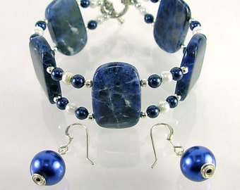 Two Strand Sodalite & Pearls Bracelet SET, Midnight Blue and White Glass Pearls