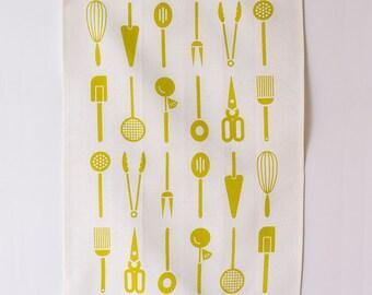 Linen Tea Towel - Cool Tools - Citron