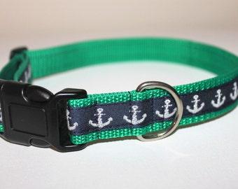 Anchor Dog Collar on Green