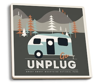 Great Smoky Mountains Park TN Go Unplug LP Artwork (Set of 4 Ceramic Coasters)