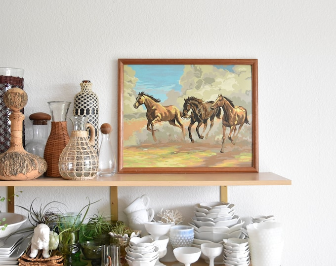 framed vintage blue paint by number original western horse painting