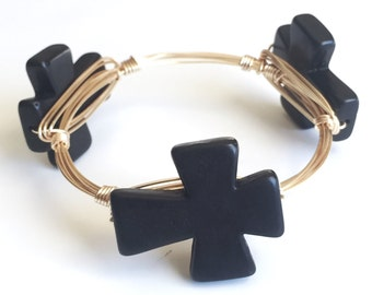 Black Cross Wire Wrap Bangle Bracelet, Black Cross Wire Bangle, Cross Bangle, Bourbon and Boweties Inspired, UGA Bangle, Black Cross Bangle