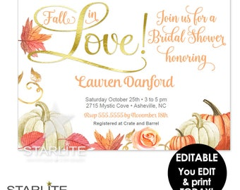 Fall in Love Bridal Shower Invitation Download, Fall in Love Bridal Shower Invitation EDITABLE INSTANT DOWNLOAD, Fall in Love Bridal