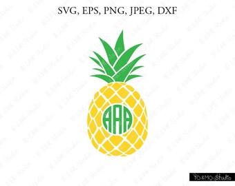 Pineapple Monogram SVG,Pineapple SVG, Pineapple Clipart, SVG Files, Cricut, Silhouette Cut Files
