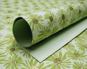 Garden Green flower print handmade Wrapping Paper gift wrap set of two large sheets lime gold