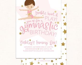 Gymnastics Birthday Invitation / DIGITAL / Gymnastics Invitation / Gymnast Birthday / Gymnastics Birthday / Tumbling Birthday / Star Invite