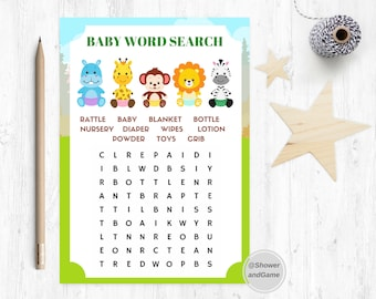 Baby Shower Baby Word Search Game Zoo | Animals Baby Shower Baby Word Search | Baby Shower Word Search Animal Safari | Animal Word Search