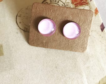 Very Pale Pink Glass Stud Earrings. Hypoallergenic surgical steel glass tile.