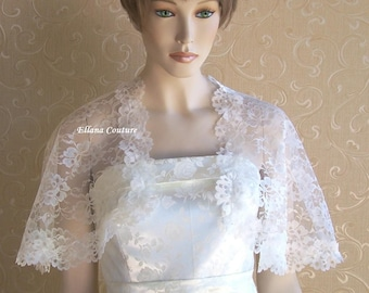 Retro Style Ivory Lace Capelet. Vintage Inspired Look and Feel.