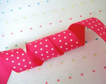 "Hot Pink and Tiny White Polka Dots Print Grosgrain Ribbon, White Pindots, 7/8"" Wide - 2 Yards"