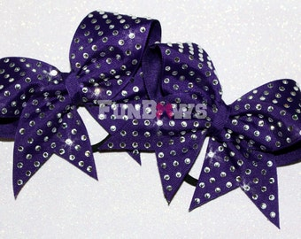 Rhinestone Pigtail Cheer  bow  set - custom -   by FunBows - WOW