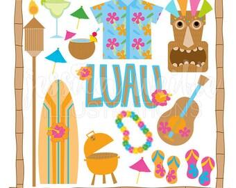 Tiki Party Cute Digital Clipart - Commercial Use OK - Luau Graphics, Luau Clipart, Tiki Clipart