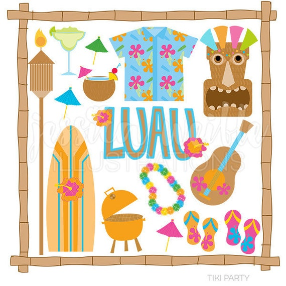 tiki party cute digital clipart commercial use ok luau rh etsy com luau clipart png hawaiian luau clipart