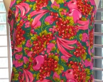 1960s Bright Fruit Print Sleeveless Top
