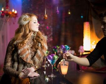 Gatsby Headpiece Gold 20s Wedding Hairpiece, Flapper Headband, Bridal Headpiece, Deco 20s Headband, Beaded Headband Beige Feather Fascinator