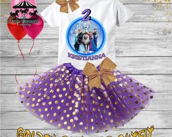 2nd Birthday Tutu Outfit, Frozen Birthday Outfit, Birthday shirt, Tutu Set (gt66)