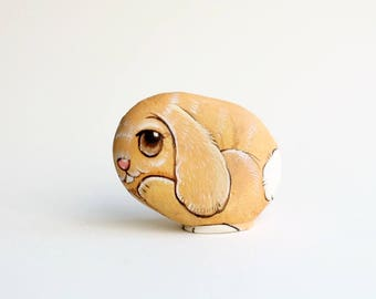 Rabbit stone painting, Stone Art Paint by Acrylic Colour, original art, Unique.