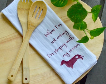 FREE SHIPPING Kitchen Tea Towel-Doxie*farmhouse kitchen towel*custom kitchen towel*flour sack towel* kitchen towel*tea towel*rae dunn