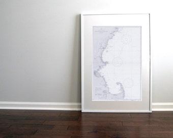 Cape Cod Massachusetts to Cape Elizabeth Maine Nautical Chart Map 1935 Blue DIGITAL PRINT 20 x 30, Map Art Prints, Printable Art, Chart Maps