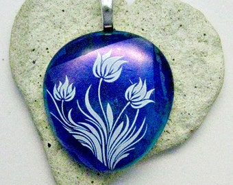 Blue with Magenta Blue Dichroic and White Flowers  Fused Glass Pendant