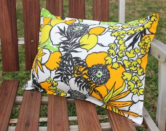 SALE Retro Flower Power 12 x 16 Pillow Cover Green Yellow Orange