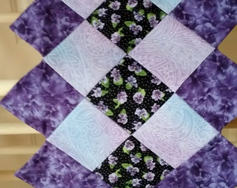 Purple Pansy Quilted Table Runner