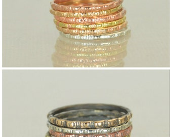 Bohemian Stacking Rings, BoHo Rings, Tribal Rings, Ripple Stacking Ring, Rustic Ring, Sterling Ring, Brass Ring, Bronze Ring, Gold Ring-G5