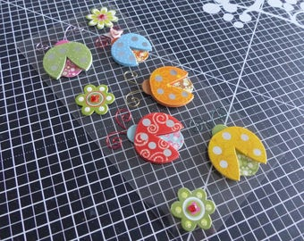 3D stickers with effect material ladybugs & flowers