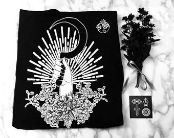 Behold the End - Floral scythe original illustration t-shirt, Victoria Olson
