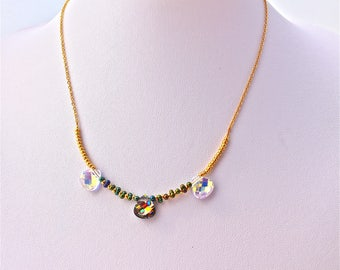 Bridal 3 drops swarovski crystal, seed beads and gold plated chain