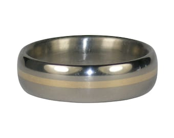 Titanium Ring with Gold Band Inlay