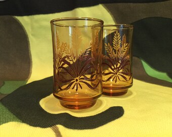 Set of Two Vintage Libbey Glass Ombre Golden Wheat Juice Glasses