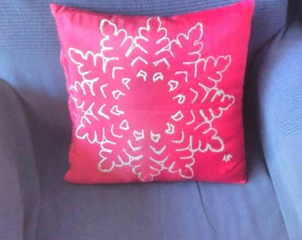 Christmas Gift, Snow Flake, Pillow cover, Cushion Cover, Hand painted, decorative pillow