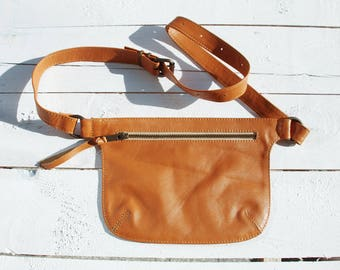 Tan Leather Bag, Hip Bag for Woman, Mother Gift, Mothers Day Gift, Fanny Pack, Leather Bag, Leather Fanny Pack, Leather Hip Bag, Belt Bag