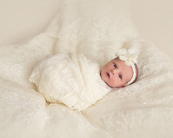 """Ivory Stretch Lace Swaddle Wrap AND/OR Matching 3"""" Flower Headband, newborn photo, baby swaddle blanket, lace wrap by Lil Miss Sweet Pea"""